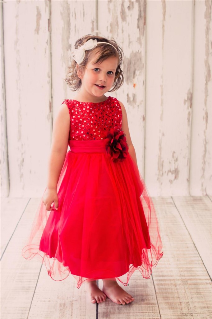 KDUS RED flower girls dress bling sequin girls red party dress
