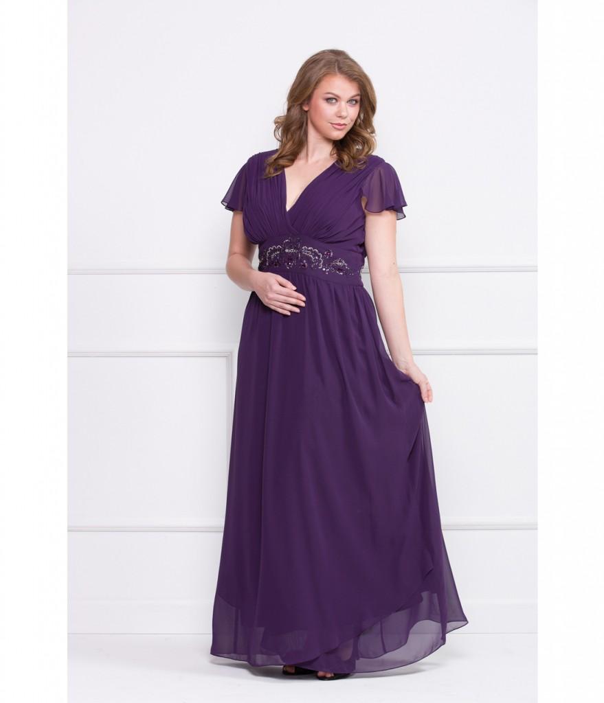 Plus size ladies shoulder gown deep v neck